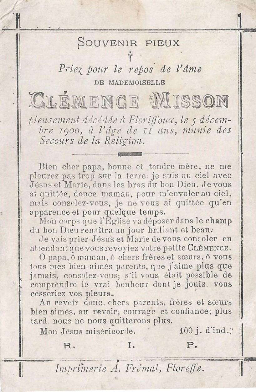 Floriffoux – souvenirs mortuaires – les patronymes MISSON
