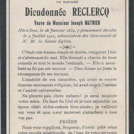 Soye – souvenirs mortuaires – les patronymes RECLERCQ