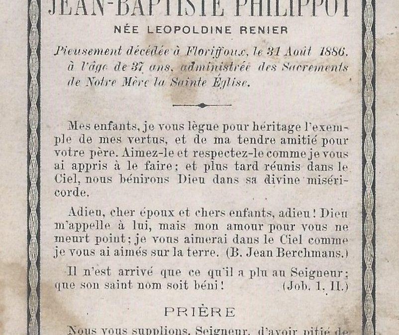 Floriffoux – souvenirs mortuaires – les patronymes RENIER