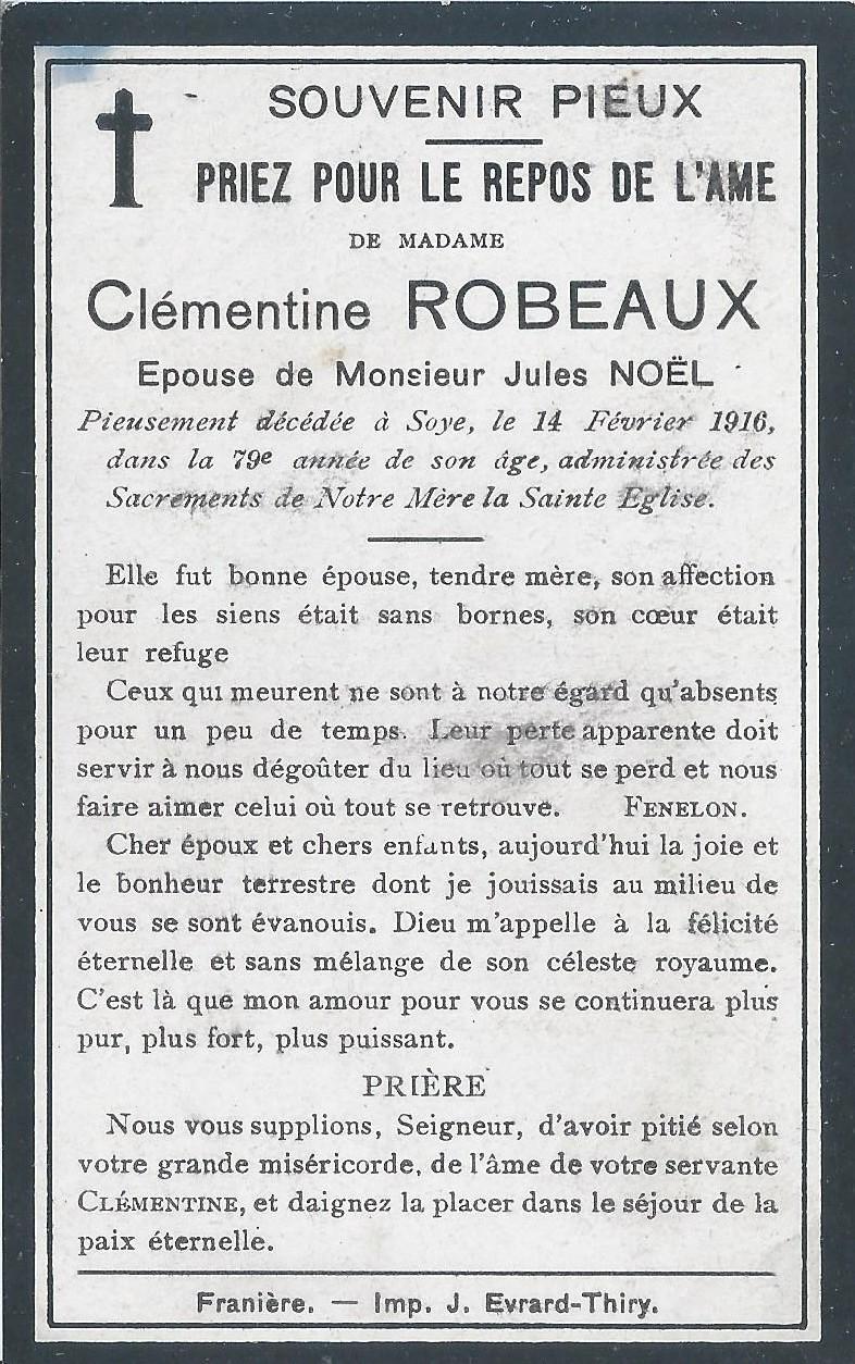 Soye – souvenirs mortuaires – les patronymes ROBEAUX
