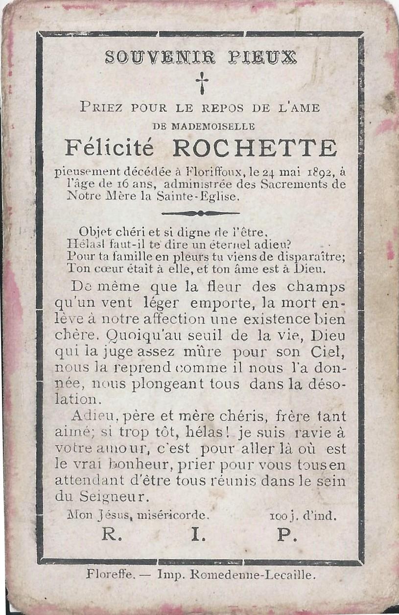 Floriffoux – souvenirs mortuaires – les patronymes ROCHETTE