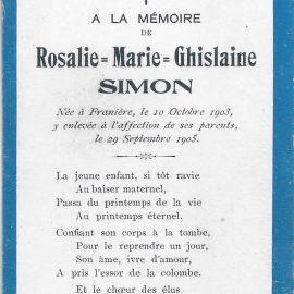 Franière – souvenirs mortuaires – les patronymes SIMON