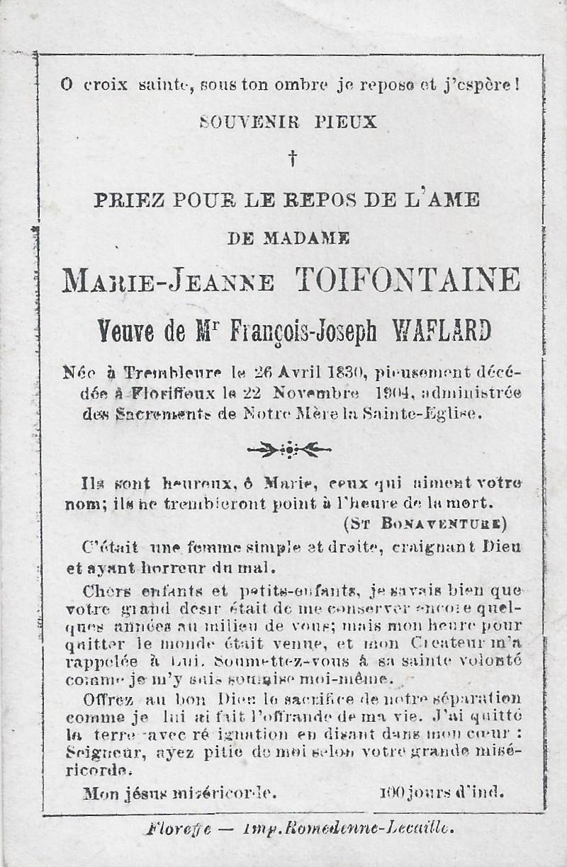 Floriffoux – souvenirs mortuaires – les patronymes TROISFONTAINE