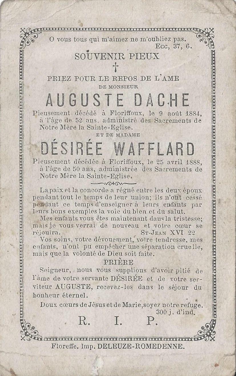 Floriffoux – souvenirs mortuaires – les patronymes WAFFLARD
