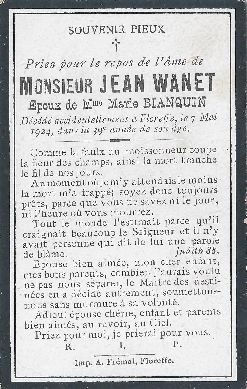 Floreffe – souvenirs mortuaires – les patronymes WANET