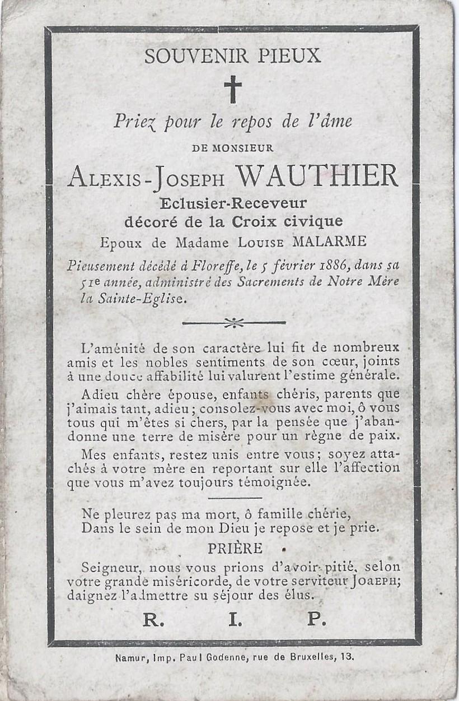 Floreffe – souvenirs mortuaires – les patronymes WAUTHIER