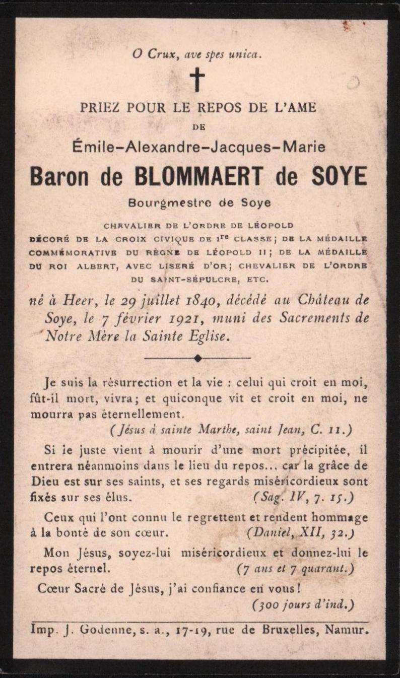 Soye – souvenirs mortuaires – les patronymes de BLOMMAERT de SOYE