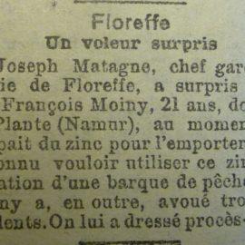 Floreffe – faits divers de l'année 1920