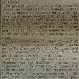 Franière – faits divers de l'année 1920