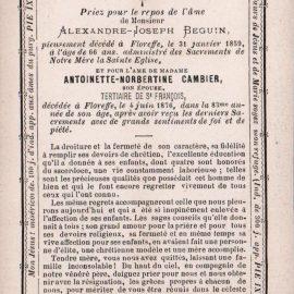 Floreffe – souvenirs mortuaires – les patronymes CAMBIER