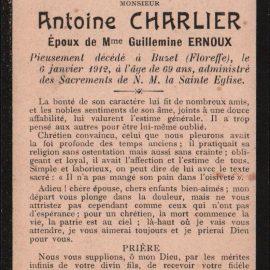 Floreffe – souvenirs mortuaires – les patronymes CHARLIER