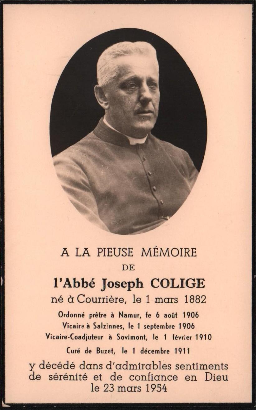 Floreffe – souvenirs mortuaires – les patronymes COLIGE