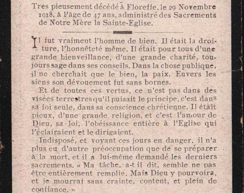 Floreffe – souvenirs mortuaires – les patronymes DAVIO