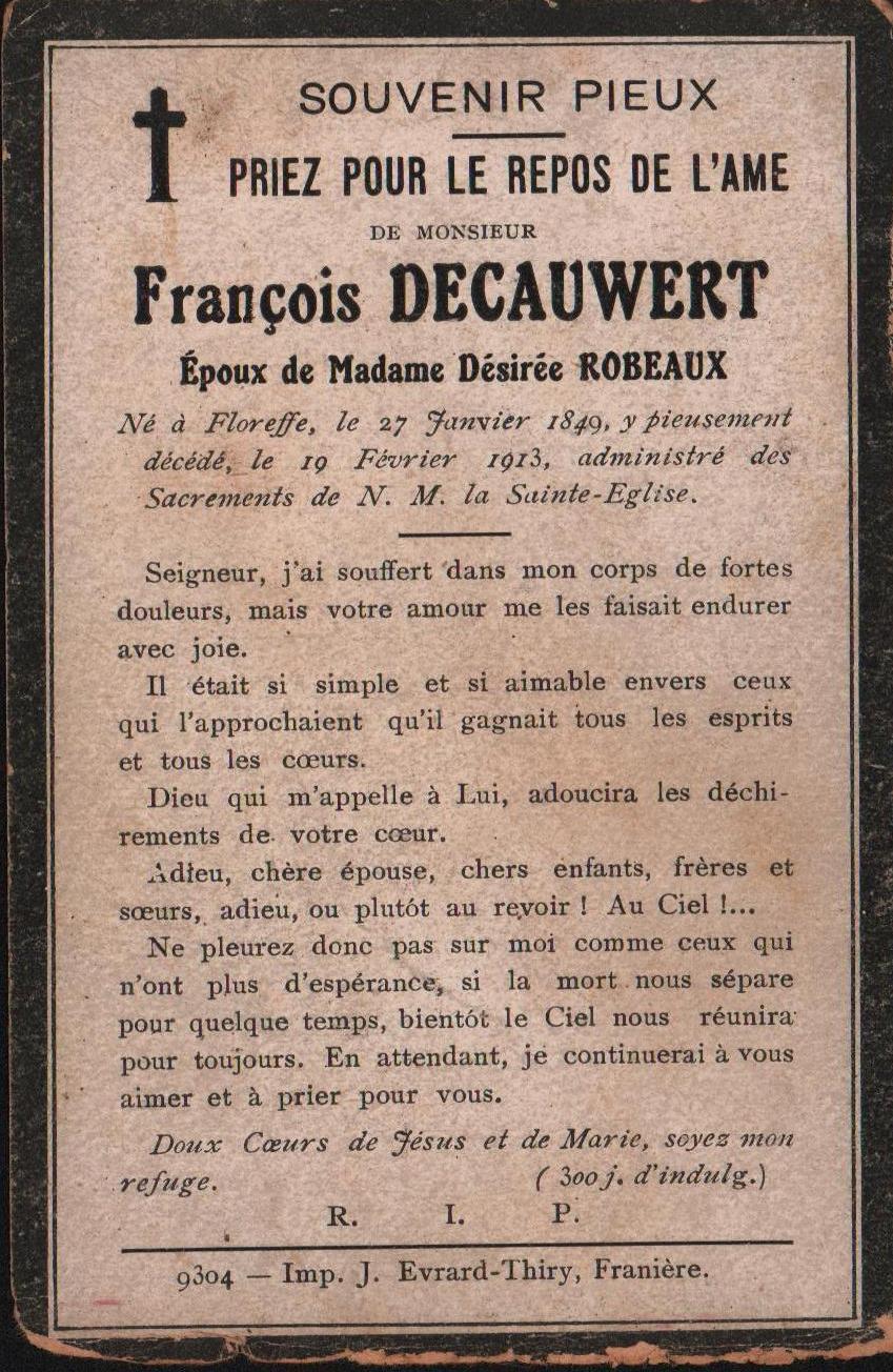 Floreffe – souvenirs mortuaires – les patronymes DECAUWERT