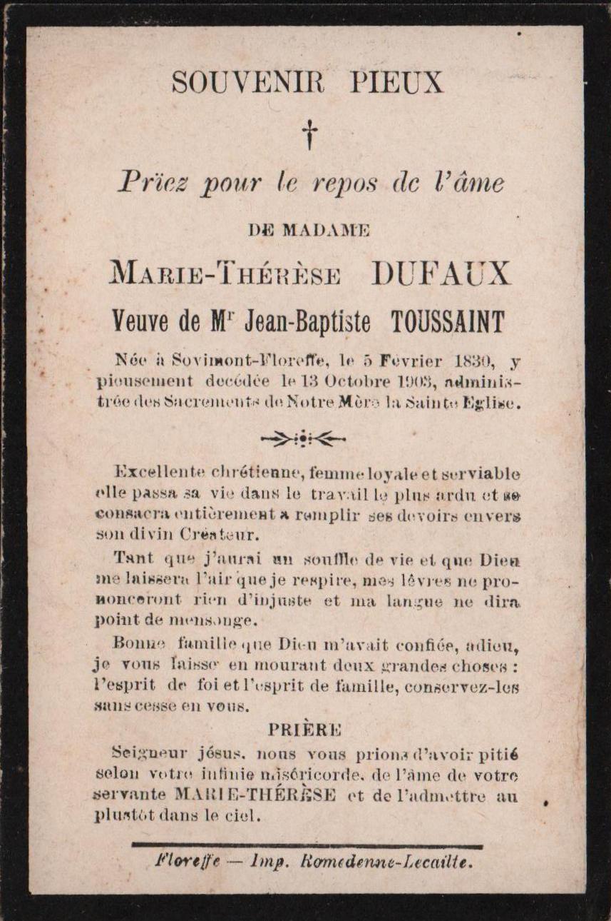 Floreffe – souvenirs mortuaires – les patronymes DUFAUX
