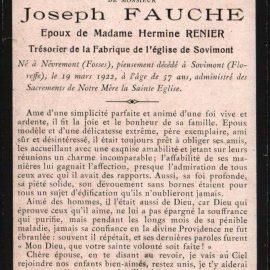 Floreffe – souvenirs mortuaires – les patronymes FAUCHE