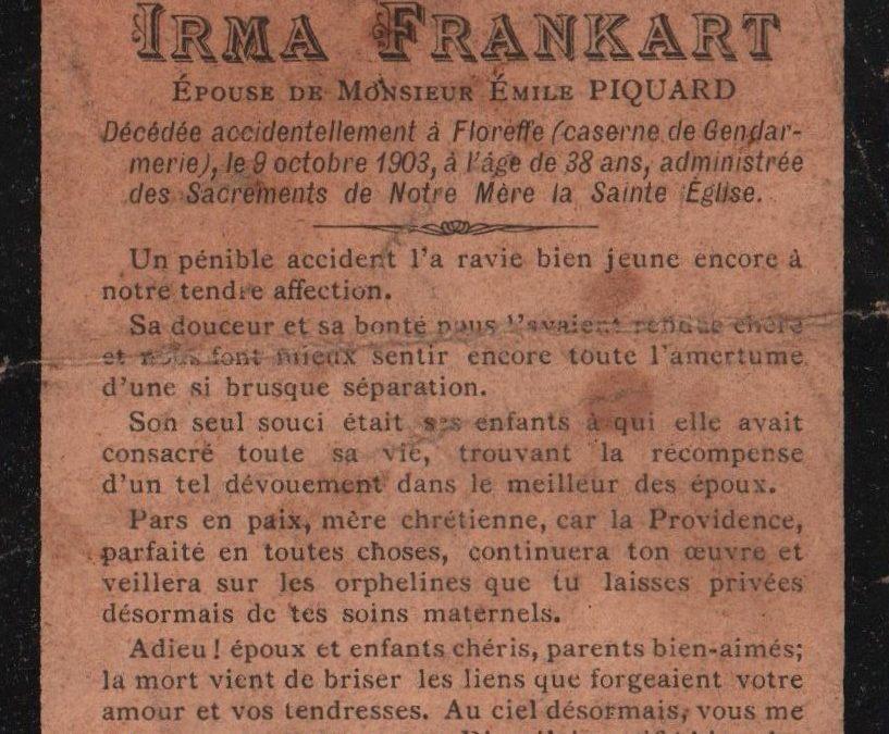 Floreffe – souvenirs mortuaires – les patronymes FRANKART