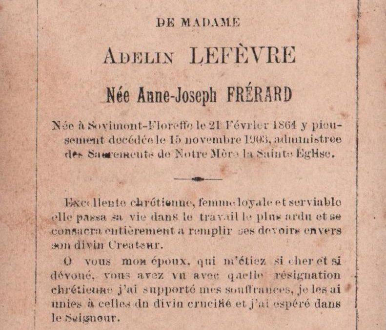 Floreffe – souvenirs mortuaires – les patronymes FRERARD