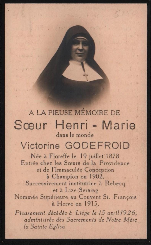 Floreffe – souvenirs mortuaires – les patronymes GODEFROID