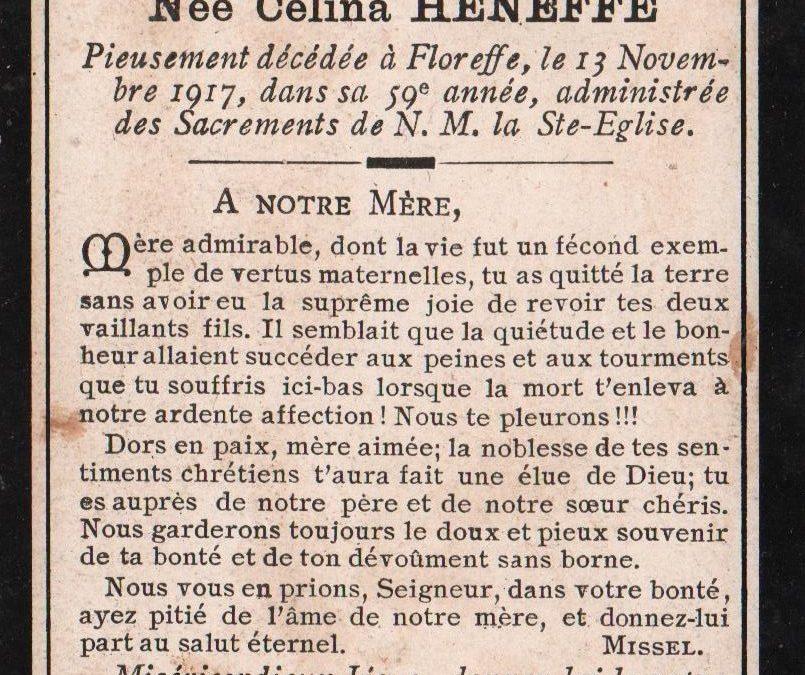 Floreffe – souvenirs mortuaires – les patronymes HENEFFE