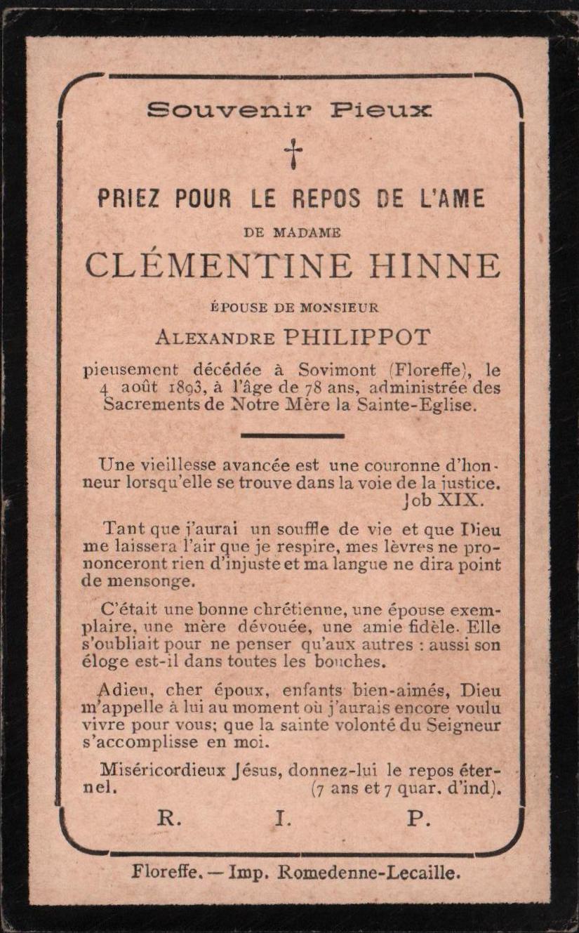 Floreffe – souvenirs mortuaires – les patronymes HINNE