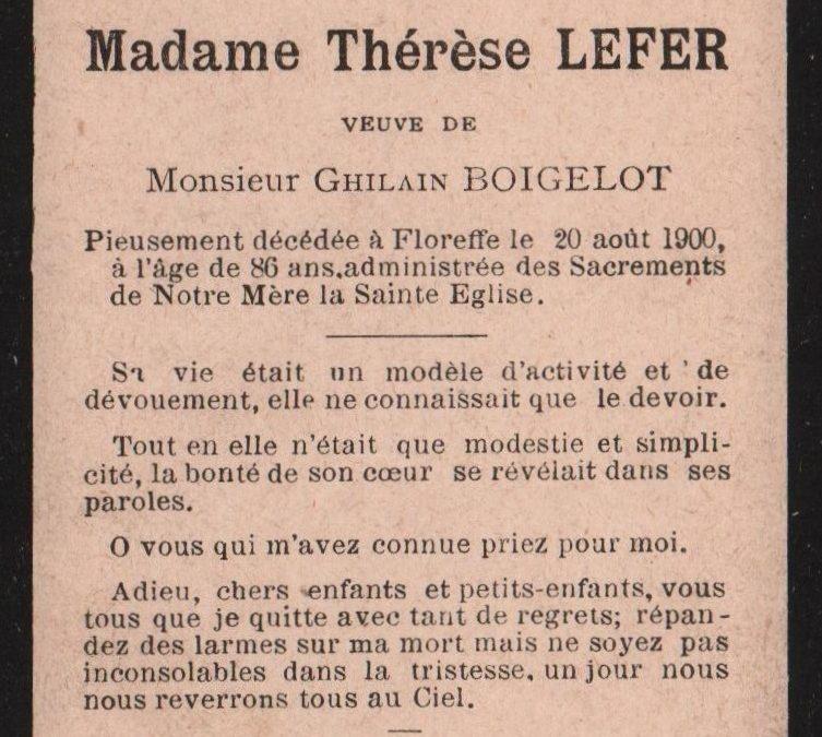 Floreffe – souvenirs mortuaires – les patronymes LEFER