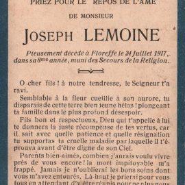 Floreffe – souvenirs mortuaires – les patronymes LEMOINE