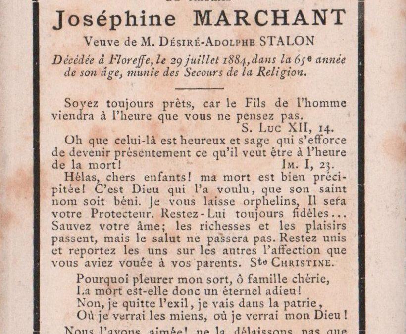 Floreffe – souvenirs mortuaires – les patronymes MARCHANT