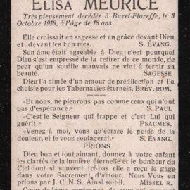 Floreffe – souvenirs mortuaires – les patronymes MEURICE