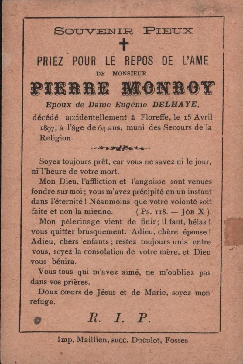 Floreffe – souvenirs mortuaires – les patronymes MONROY