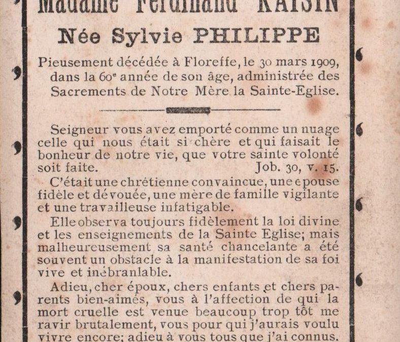 Floreffe – souvenirs mortuaires – les patronymes PHILIPPE