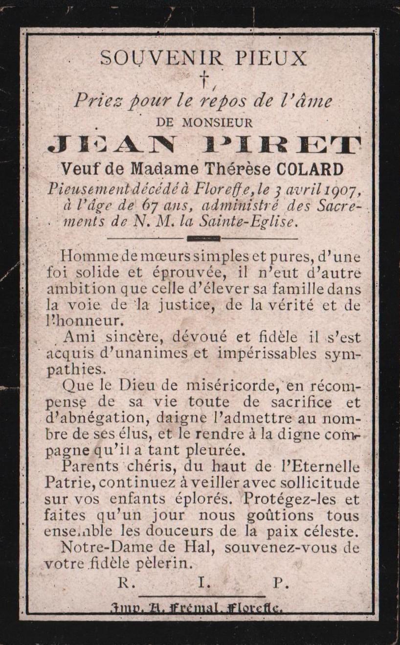 Floreffe – souvenirs mortuaires – les patronymes PIRET