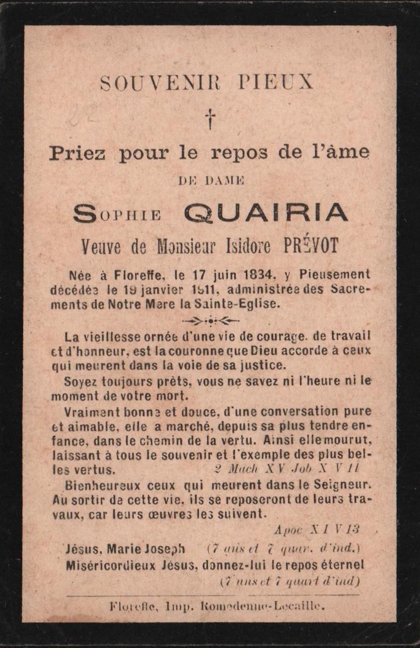 Floreffe – souvenirs mortuaires – les patronymes QUAIRIA