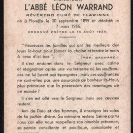 Floreffe – souvenirs mortuaires – les patronymes WARRAND