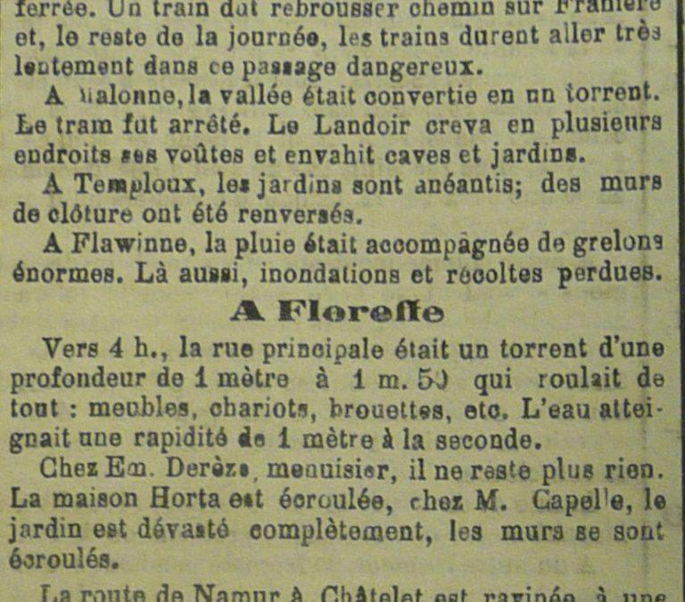Floreffe – inondations de 1906 – coupure de presse