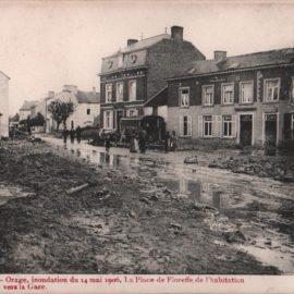 Floreffe – Place Roi Baudouin – inondations de 1906