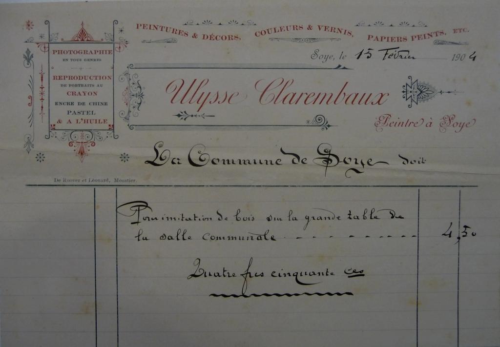 Soye – peintre Ulysse CLAREMBAUX – facture de 1904