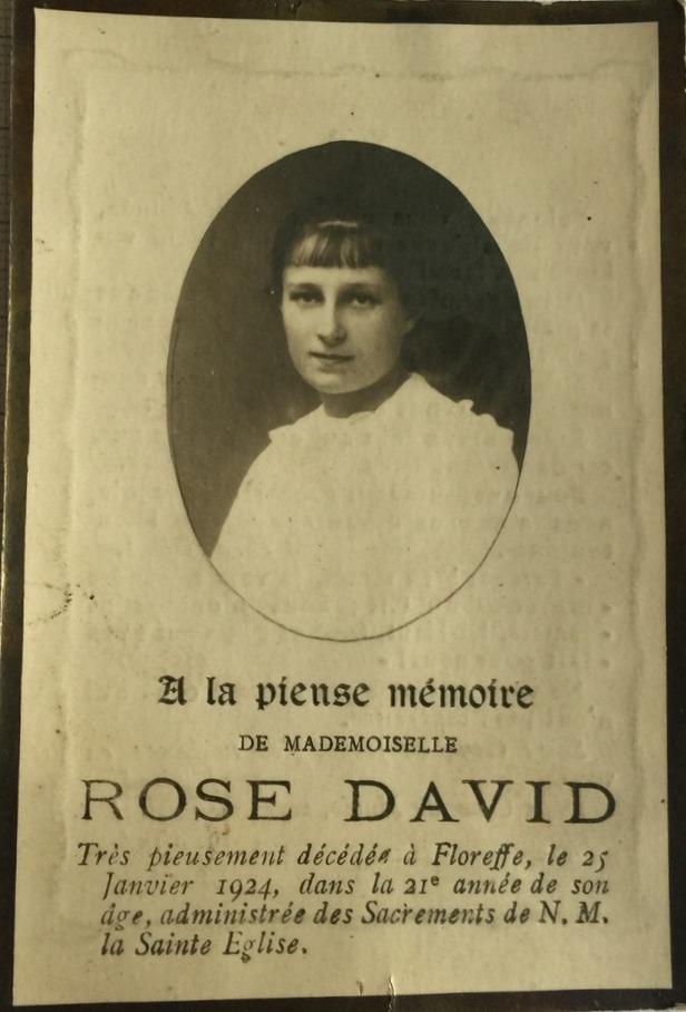 Floreffe – souvenirs mortuaires – les patronymes DAVID