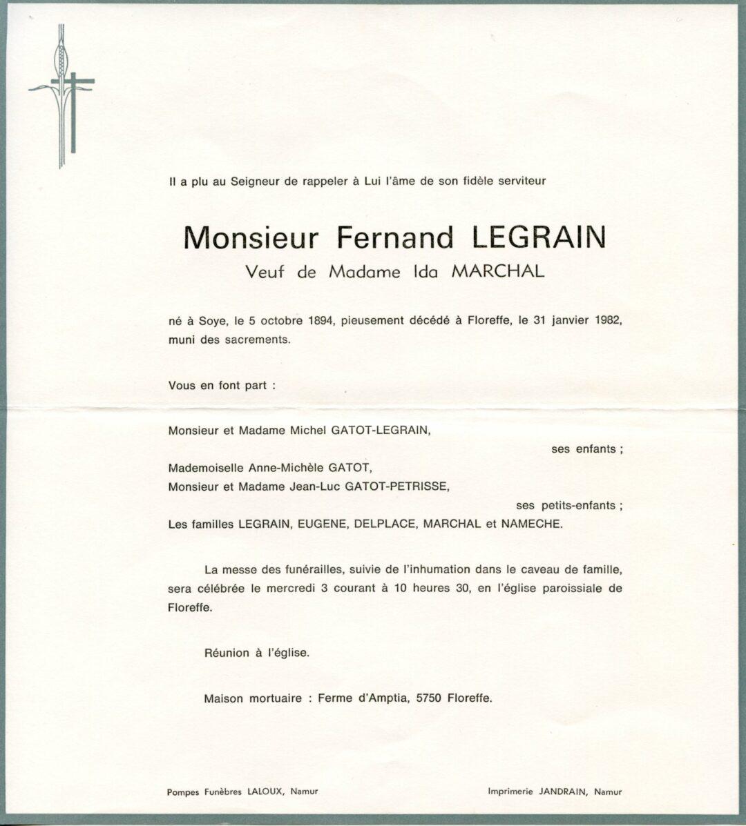 Soye – souvenirs mortuaires – les patronymes LEGRAIN