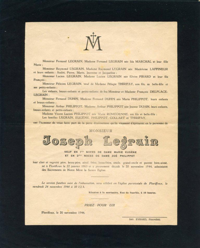 Floriffoux – souvenirs mortuaires – les patronymes LEGRAIN