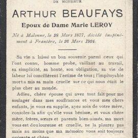 Franière – souvenirs mortuaires – les patronymes BEAUFAYS