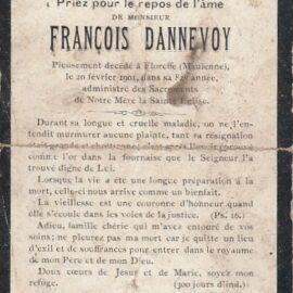 Floreffe – souvenirs mortuaires – les patronymes DANNEVOY