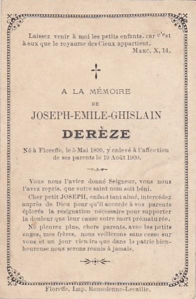 Floreffe – souvenirs mortuaires – les patronymes DEREZE