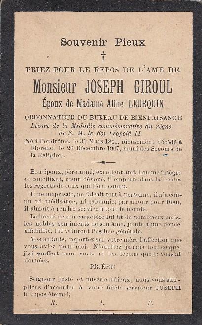 Floreffe – souvenirs mortuaires – les patronymes GIROUL