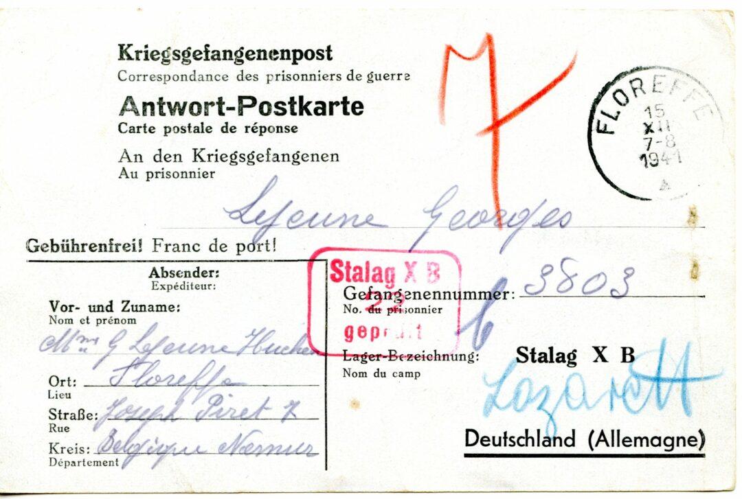 Floreffe – guerre 40-45 – Georges LEJEUNE – prisonnier