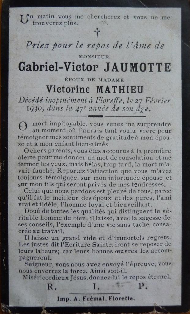 Floreffe – souvenirs mortuaires – les patronymes JAUMOTTE
