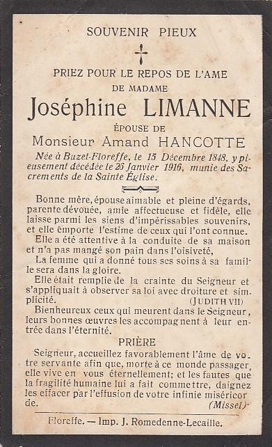 Floreffe – souvenirs mortuaires – les patronymes LIMANNE