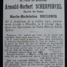Floreffe – souvenirs mortuaires – les patronymes SCHERPEREEL