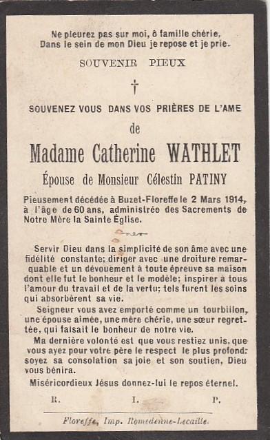 Floreffe – souvenirs mortuaires – les patronymes WATHLET
