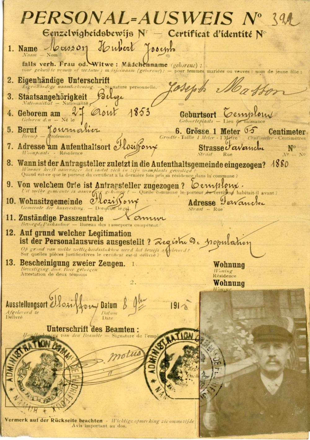 Floriffoux – Ausweis – Hubert MASSON